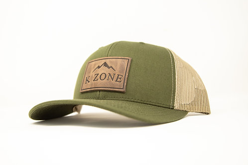 K Zone Leather Patch Cap- Tan/ Green