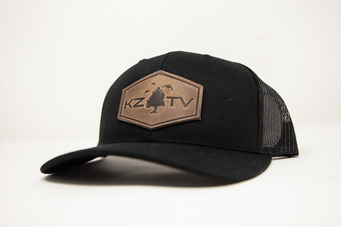 KZTV Leather Patch Cap- All Black