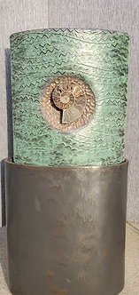 APOLLONIAN GREEN/BRONZE WITH MOUNTED AMMONITE FOSSIL
