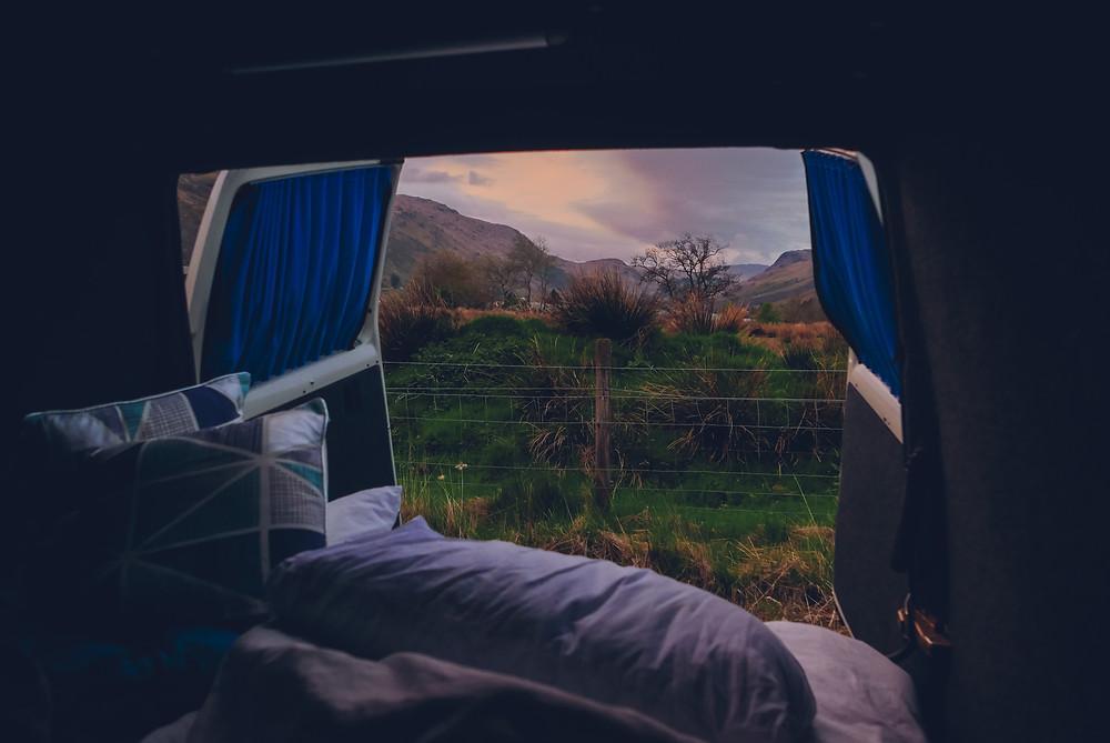 camper van, view, scotland, scottish wild, loch fyne, loch,