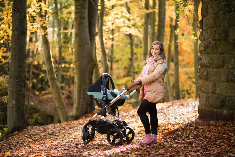 best-aberdeen-family-children-photographer-montrose-mum-with-buggy-in-autumn-forrest