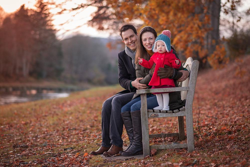 Best-aberdeen-family-children-photographer-montrose-arbroath-aberdeenshire-banchory-lodge-autumn-family-on-bench