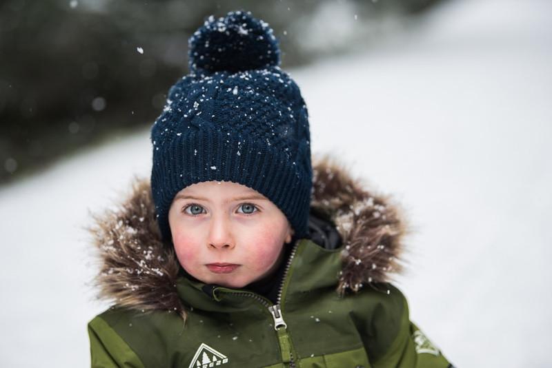 aberdeen-family-photographer-montrose-portrait-of-a-toddler-boy-in-snow-denlethen-woods