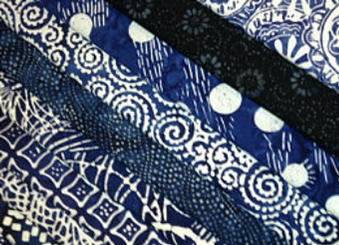 Blue and White Indigo Batik 10 Fat Quarter Bundle