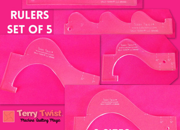 Quilting Rulers Set of 5, 8 Sizes, INSTRUCTION FOR 130+ Machine Quilting Designs
