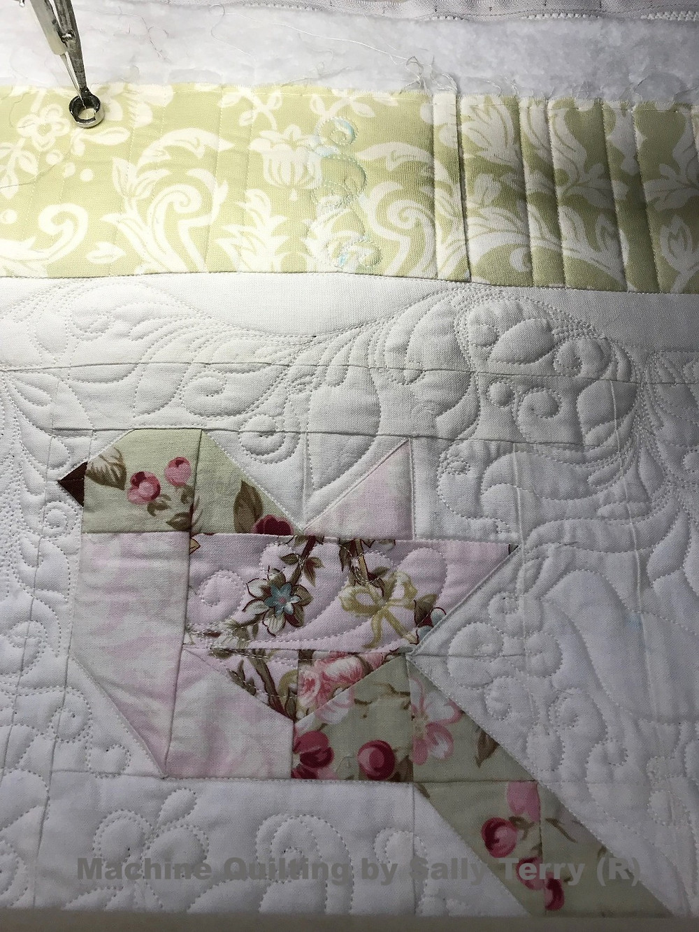 Free Motion Machine Quilting of Feathers by Sally Terry
