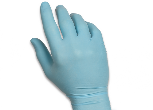 Blue Latex Exam Glove on hand