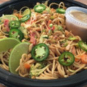 Peanut pistachio noodle bowl; vegetarian