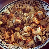 Yum #dinner #spicyclamsshrimppancetta