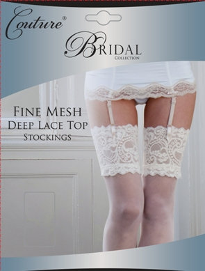 Fine mesh lace top stockings