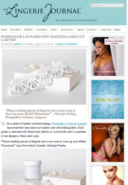The Lingerie Journal feature our laser-cut leather garters
