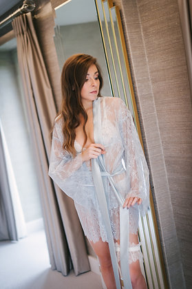 Luxury Ice Blue Chantilly Lace & Silk Robe - FINAL REDUCTION