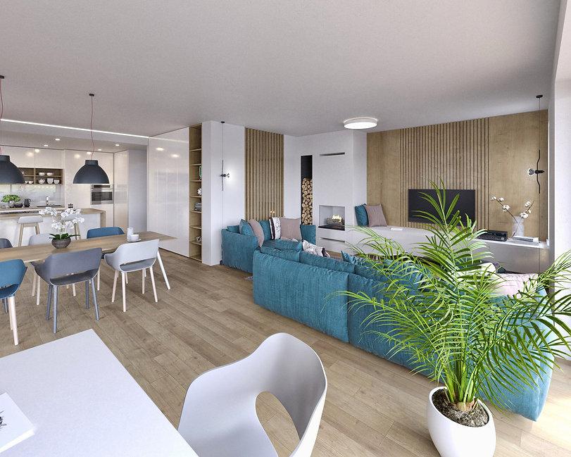 enodružinska hiša, interier, dnevna soba, jedilnica, kavč, hrastov les, notranja oprema, oprema, pohištvo, kamin, lesene obloge, living room, interior design, parentesi, oak wood