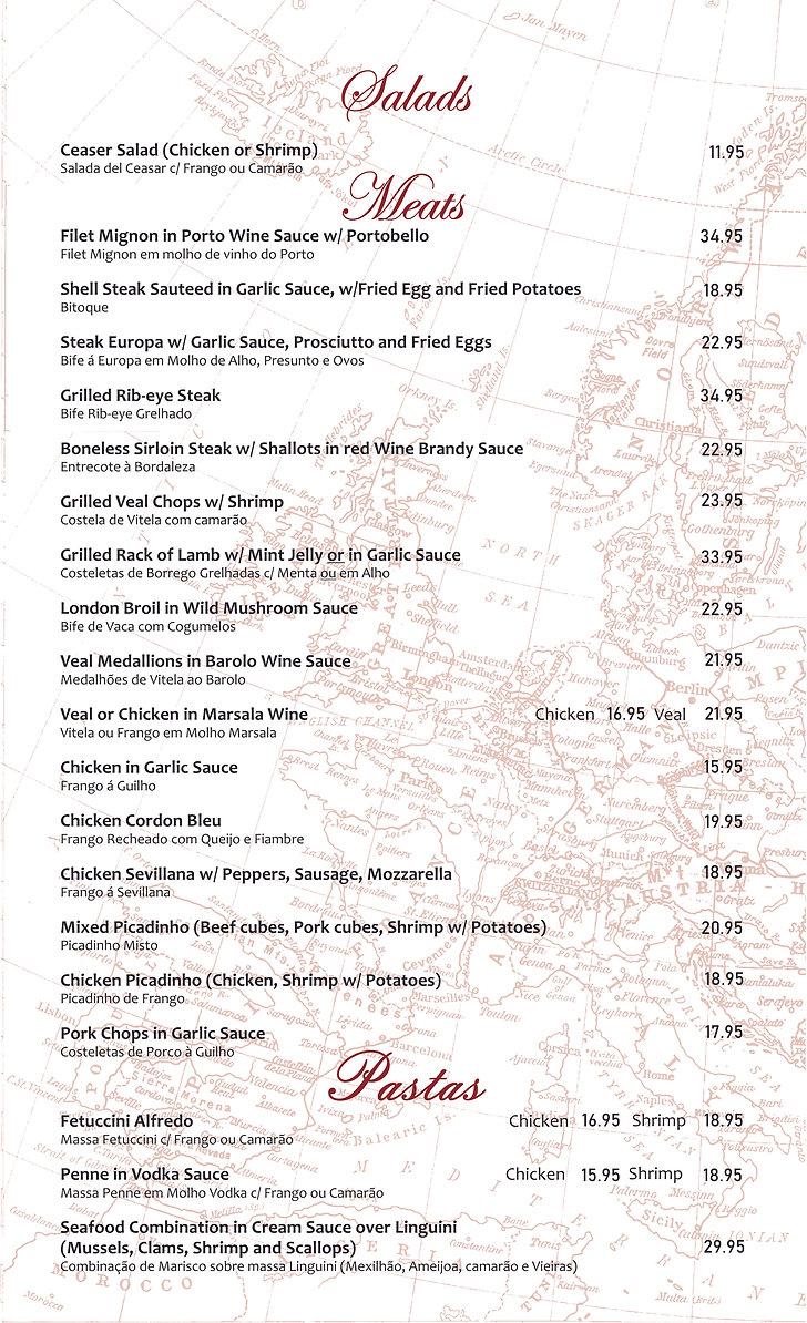 Europa Bar Restaurant  - Dinner Menu sal
