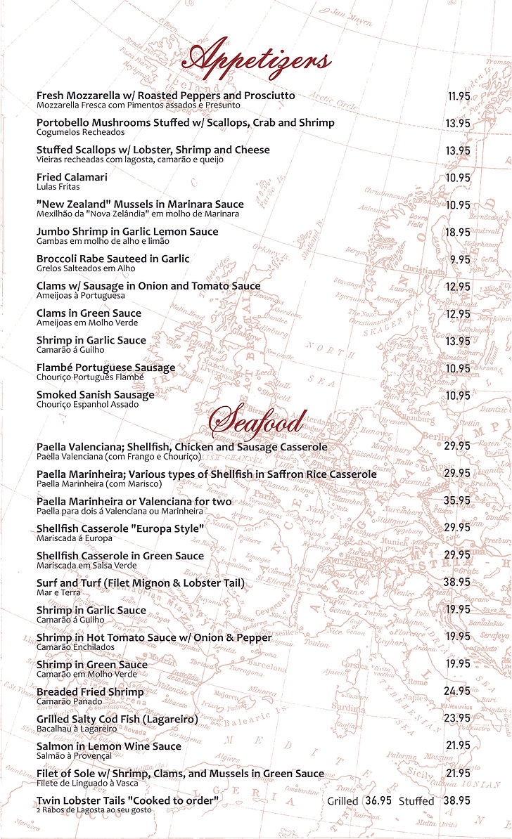 Europa Bar Restaurant  - Dinner Menu app
