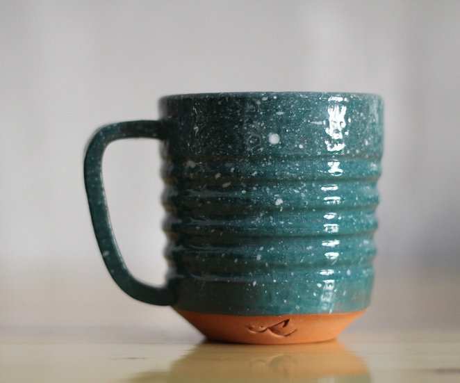 Green crackled speckled Mug