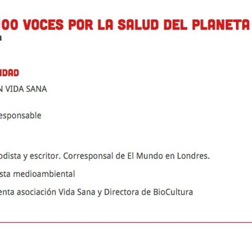 Ecohéroes. 100 Voces por la Salud del Planeta