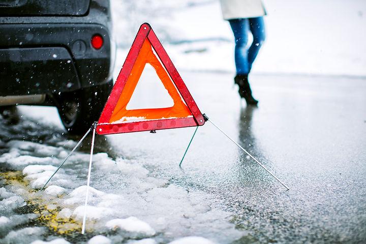 Auto ongeluk gevaren driehoek