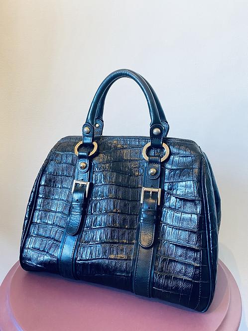 Bolsa em couro texturizado preto