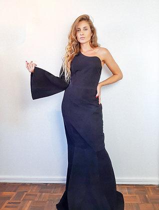 Vestido longo camurça