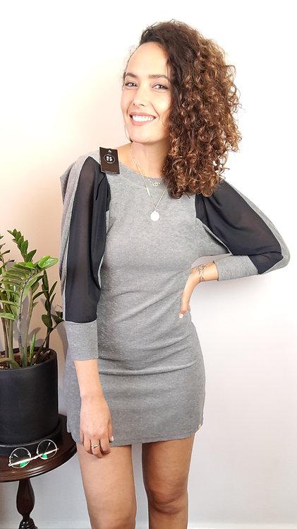 Vestido cinza decote costas