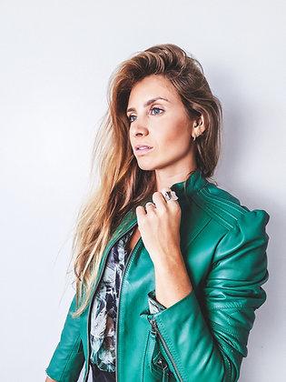 Jaqueta em couro verde