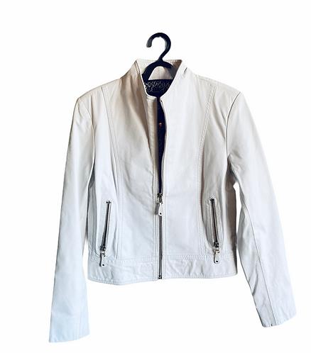 Jaqueta em couro branco