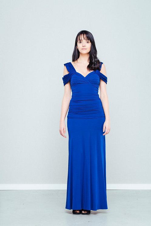 Vestido longo de malha azul