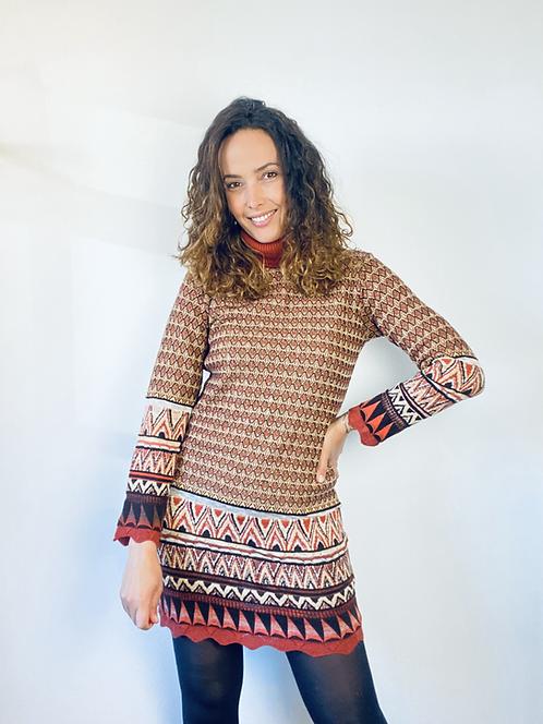 Vestido tricotgola alta