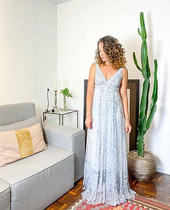 Vestido longo seda