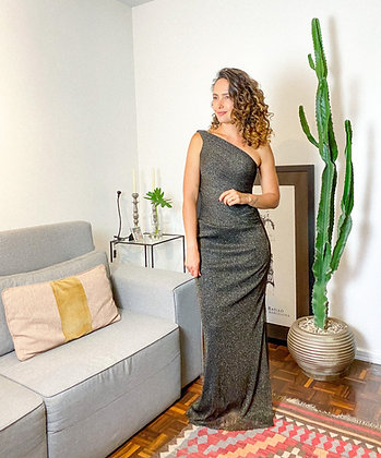 Vestido longo lurex