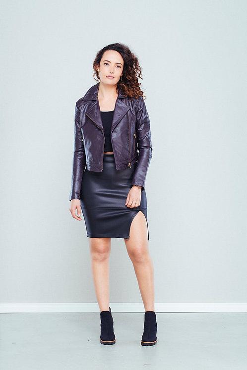 Jaqueta de couro legítimo roxa