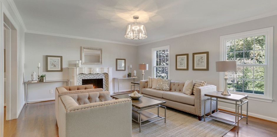 Formal Living Room with Beautiful Second Fireplace
