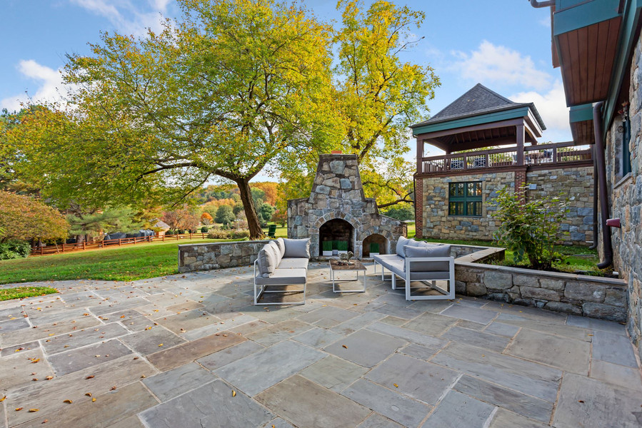 Flagstone Fireplace Off Kitchen/Family Room