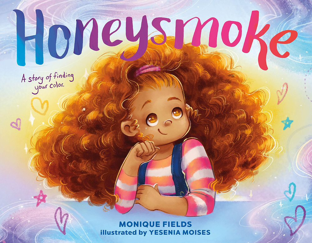 Cover of HONEYSMOKE: a girl with big golden-brown hair and tan skin is pictured in the center, surrounded by smoke in shades of purple, blue and pink