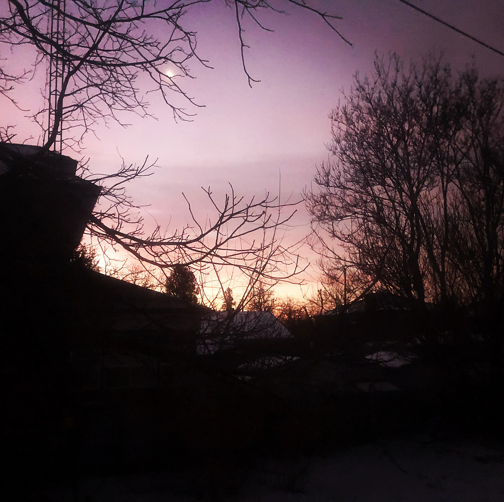 Lavender sky at sunrise on the dawn after the winter solstice in 2019