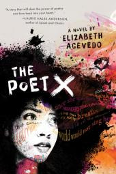 The cover of The Poet X; the face of a Latinx girl with big, black curly hair is overlaid by lines of poetry in shades of yellow, pink, orange and black on a background that is white splotched with shades of paint in the same colors