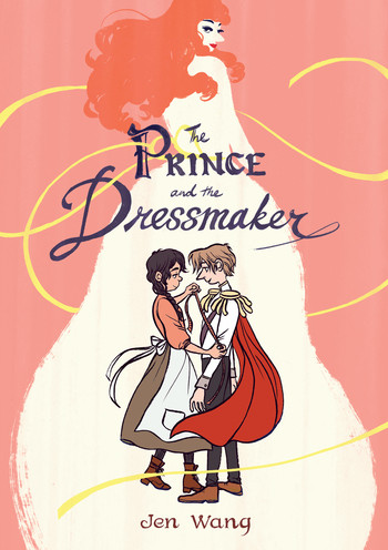 a dressmaker measures a prince's arm in front of a woman in a ball gown, all on a pink background