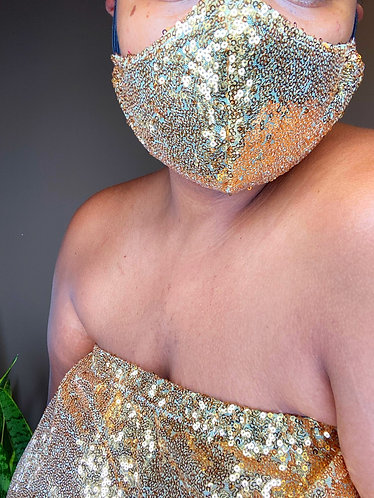Diva Sequin Face Mask & Sequin Top Set