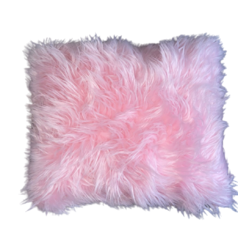 Pink Faux Fur Throw Pillows