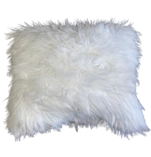 White Faux Fur Throw Pillows