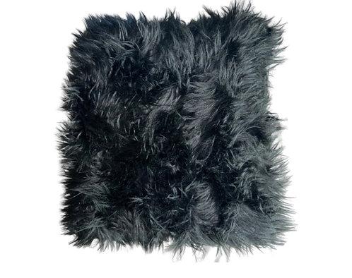 """Midnight"" Handmade Faux Fur Throw Pillow"