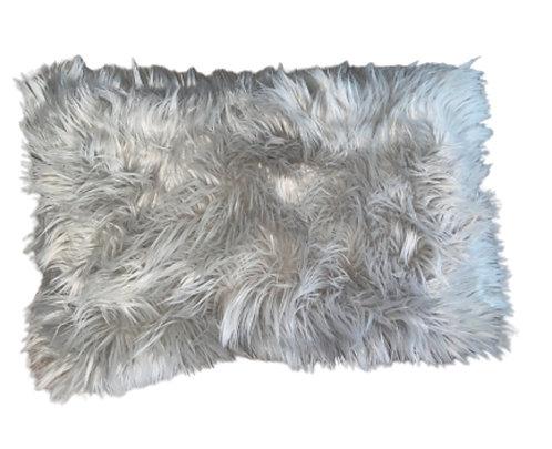 """""""Salt & Pepper"""" Handmade Faux Fur Lumbar Throw Pillow"""