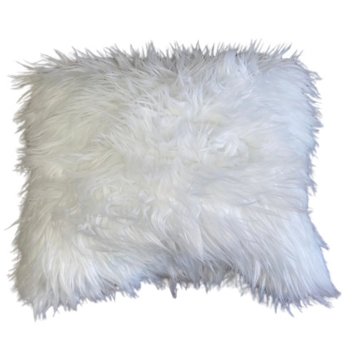 """Snowflake"" Handmade Faux Fur Throw Pillow"