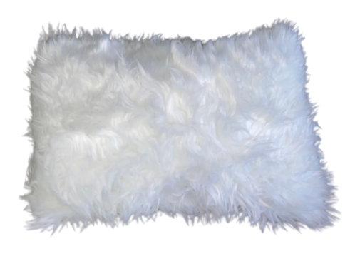 """Snowflake"" Handmade Faux Fur Lumbar Throw Pillow"