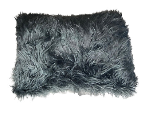 """Shadow"" Handmade Faux Fur Lumbar Throw Pillow"