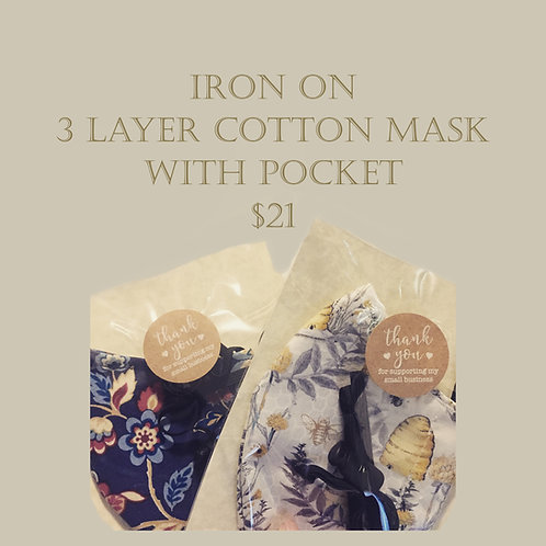 Iron on - 3 Layer Cloth Mask with Pocket