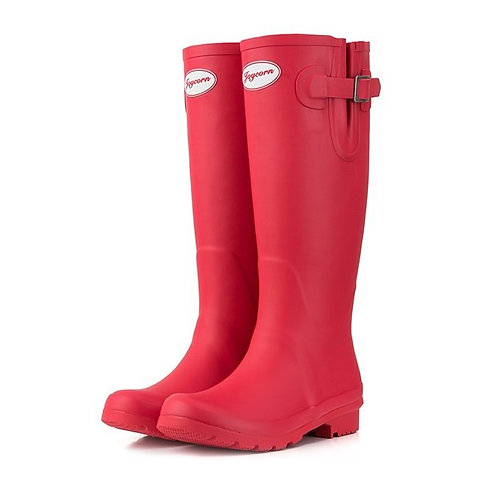 JOYCORN - 高筒平底天然橡膠雨靴水鞋 – 紅色