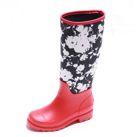 JOYCORN - 時尚高筒潑墨平底橡膠雨靴水鞋 – 紅色