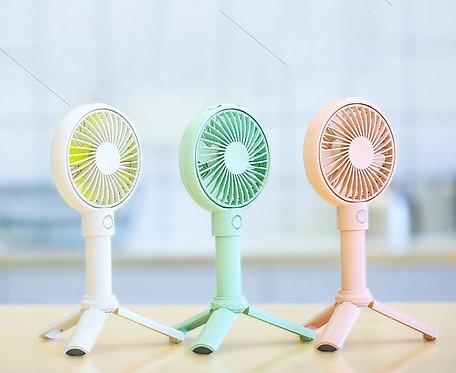 m square - Benks 迷你隨身多功能手持小風扇靜音可坐檯 -- 白色/粉紅色/綠色